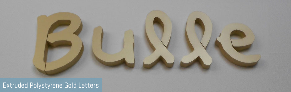 Polystyrene Gold Letters