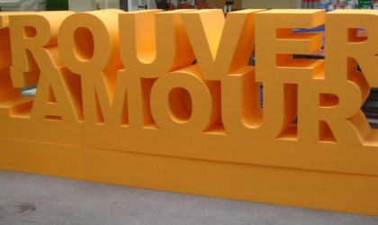 Giant polystyrene letters
